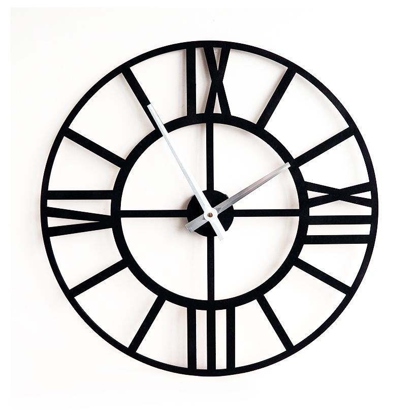 Настенные часы Roomton классические, черные, лофт, 50см, черный
