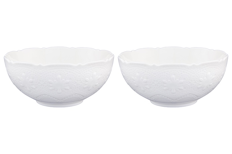 Набор салатников 2 предмета 16х16х7 см 790 мл Elan Gallery Белое кружево