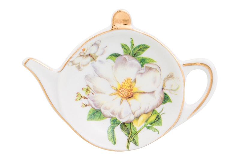 Подставка для чайных пакетиков Elan Gallery Белый шиповник, 180337, белый, зеленый блюдо для горячего elan gallery белый шиповник 42 х 22 5 см