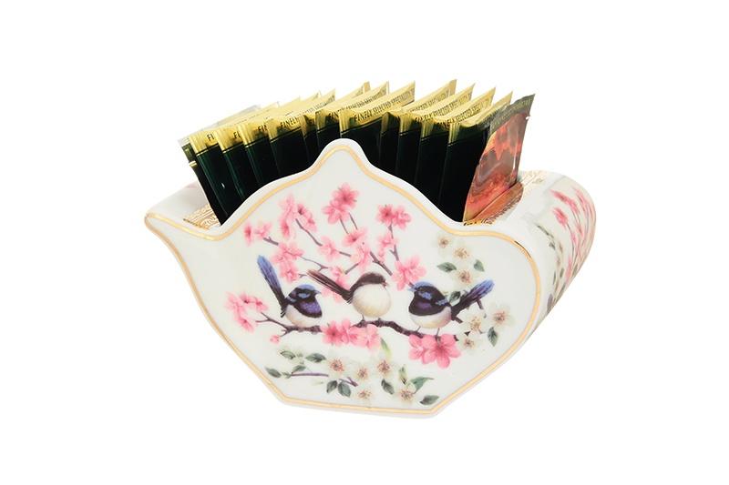 Подставка для чайных пакетиков Elan Gallery Райские птички, 504011, белый, розовый подставка сервировочная для чайных пакетиков elan gallery белый шиповник цвет белый зеленый желтый