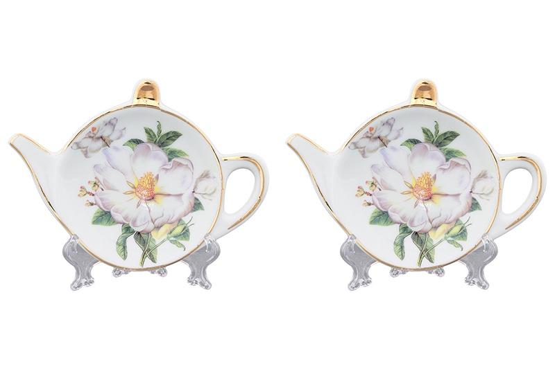 Подставка для чайных пакетиков Elan Gallery Белый шиповник, белый, зеленый блюдо для горячего elan gallery белый шиповник 42 х 22 5 см