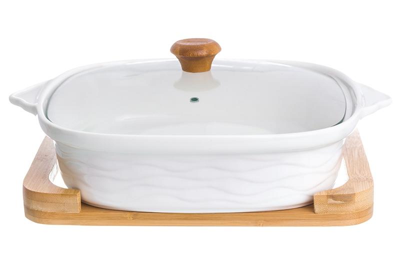 Блюдо Elan Gallery Айсберг, белый, коричневый блюдо для запекания и сервировки elan gallery айсберг 540120