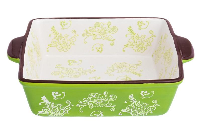Блюдо Elan Gallery Цветочная симфония, 830230, белый, зеленый блюдо для запекания elan gallery цветочная симфония цвет красный 1 6 л