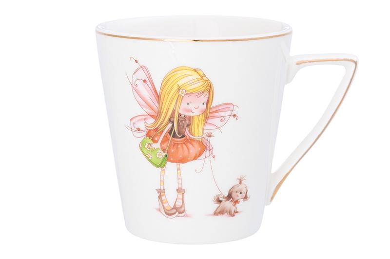Кружка 190 мл 10,5х7,5х8 см Elan Gallery Девочка - фея с собачкой в розовом кружка elan gallery мишки с шариками на велосипеде 190 мл