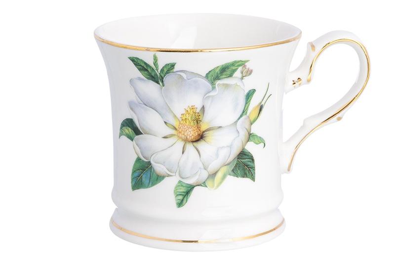 Кружка Elan Gallery Белый шиповник, белый, зеленый блюдо для горячего elan gallery белый шиповник 42 х 22 5 см