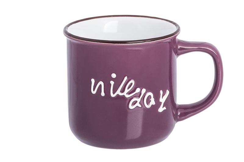 Кружка 350 мл 12х8,5х8,5 см Elan Gallery Nice day фиолетовая nice day натуральный фитошампунь клубника 200 мл