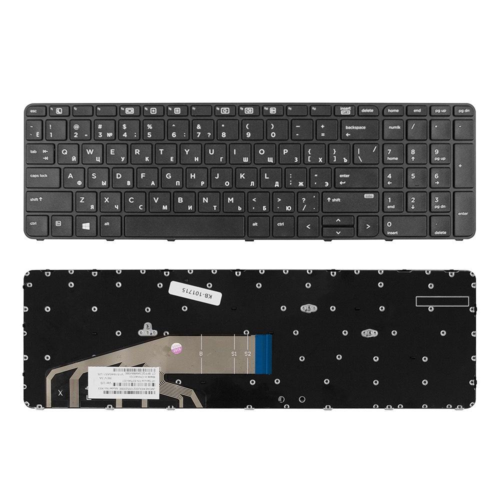 Клавиатура TopOn HP ProBook 450 G3, 455 G3, 470 G3, 650 G2, 655 G2 Series. Плоский Enter. С черной рамкой. PN: 831023-001, NSK-CZ1BV., KB-101715, черный