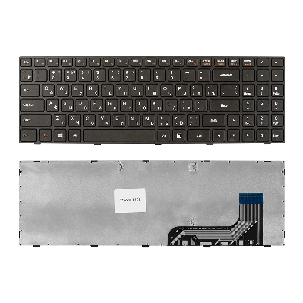Клавиатура TopOn Lenovo Ideapad 100-15, 100-15IBY, B50-10, B5010 Series. Плоский Enter. С черной рамкой. PN: 5N20H52634, 5N20H52646., KB-101721, черный