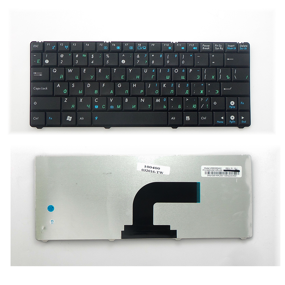 Клавиатура TopOn Asus N10, N10A, N10C, N10E, N10J, N10JC, Eee PC 1101 Series. Плоский Enter. Без рамки. PN: 0KNA-1J2RU01, V090262BK1., TOP-100400, черный