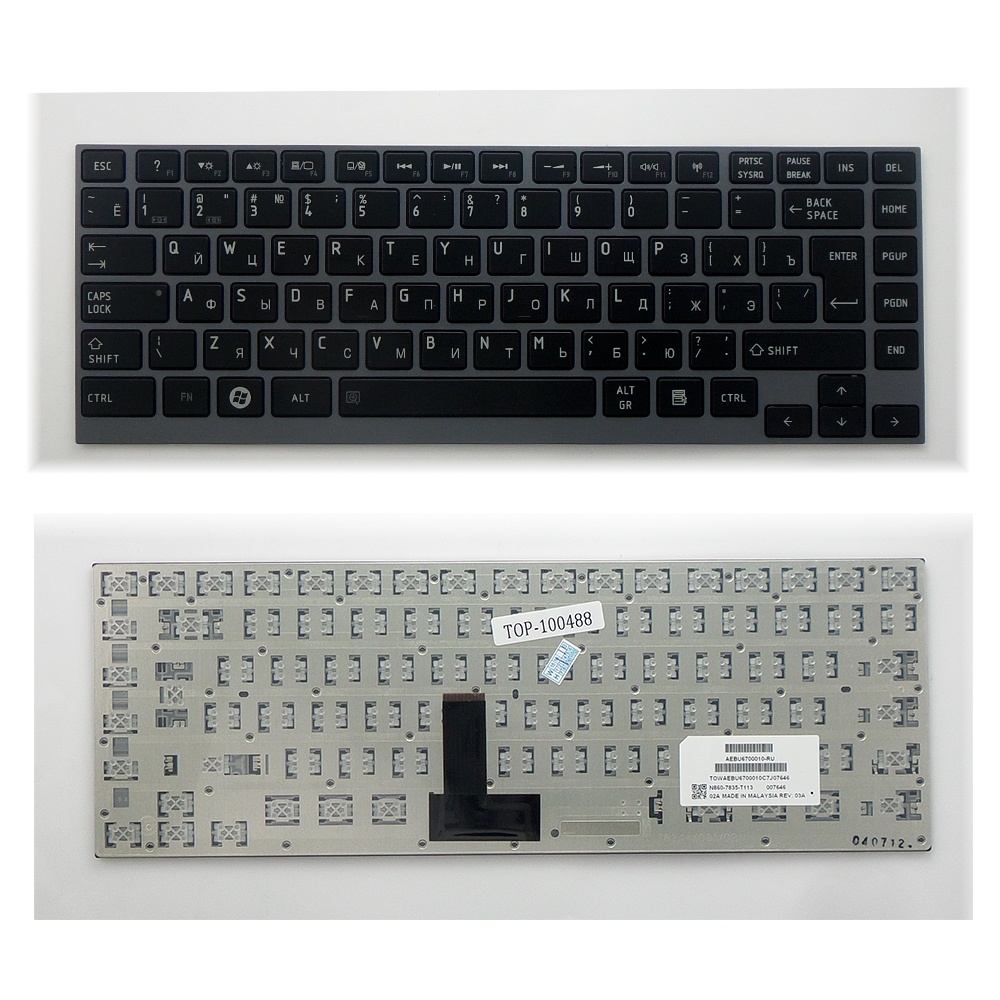 Клавиатура TopOn Toshiba Portege Z830, Z835, M800, N860 Series. Г-образный Enter. С серебристой рамкой. PN: NSK-TX3GC 0R, 9Z.N8UGC.30R., TOP-100488, черный все цены