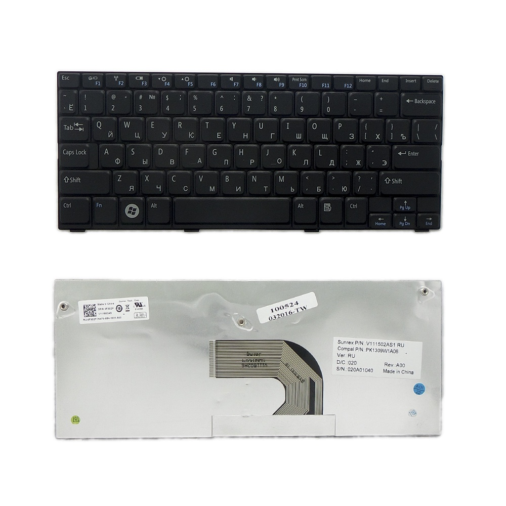 Клавиатура TopOn Dell Inspiron Mini 1012, 1018 series. Плоский Enter. Без рамки. PN: MP-09K63SU-698, PK1309W2A06., TOP-100524, черный цена
