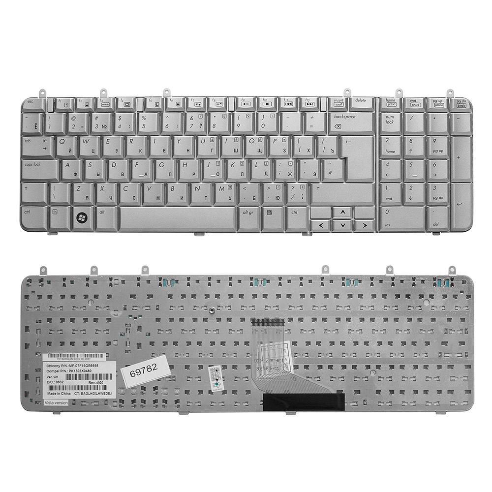 Клавиатура TopOn HP Pavilion DV7-1000, DV7-1100, DV7-1200 Series. Г-образный Enter. Без рамки. PN: NSK-H840R, 9J.N0L82.20R., TOP-69782, серебристый цена