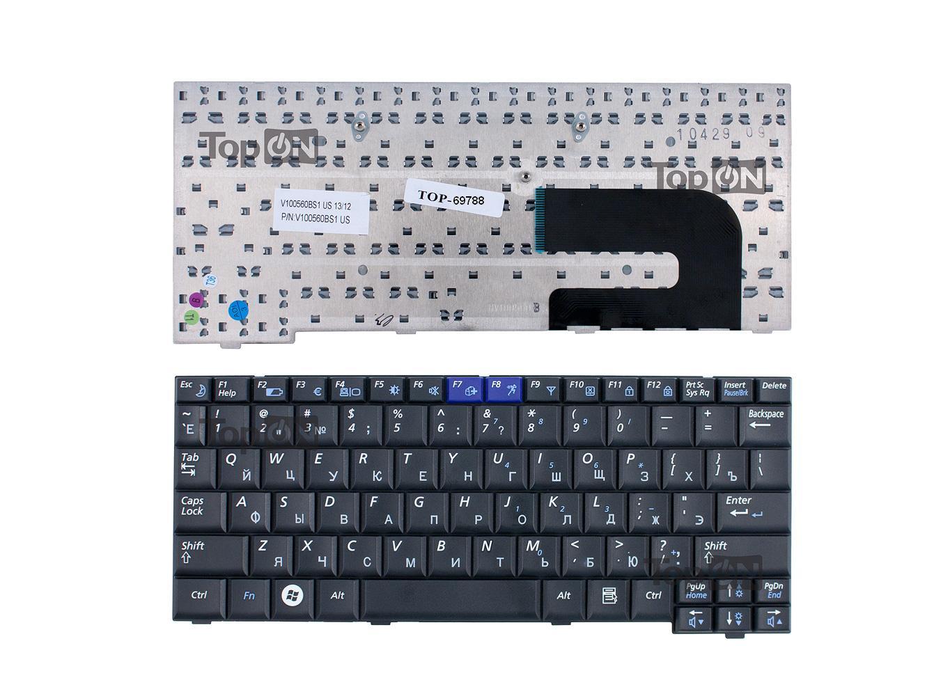 Клавиатура TopOn Samsung NC10, N110, N130, N140 Series. Плоский Enter. Без рамки. PN: BA59-02697D, CNBA5902419QBIL., TOP-69788, черный аккумуляторная батарея topon top x11 4800мач для ноутбуков samsung r18 r20 r25 np x1 nt x1 np x11