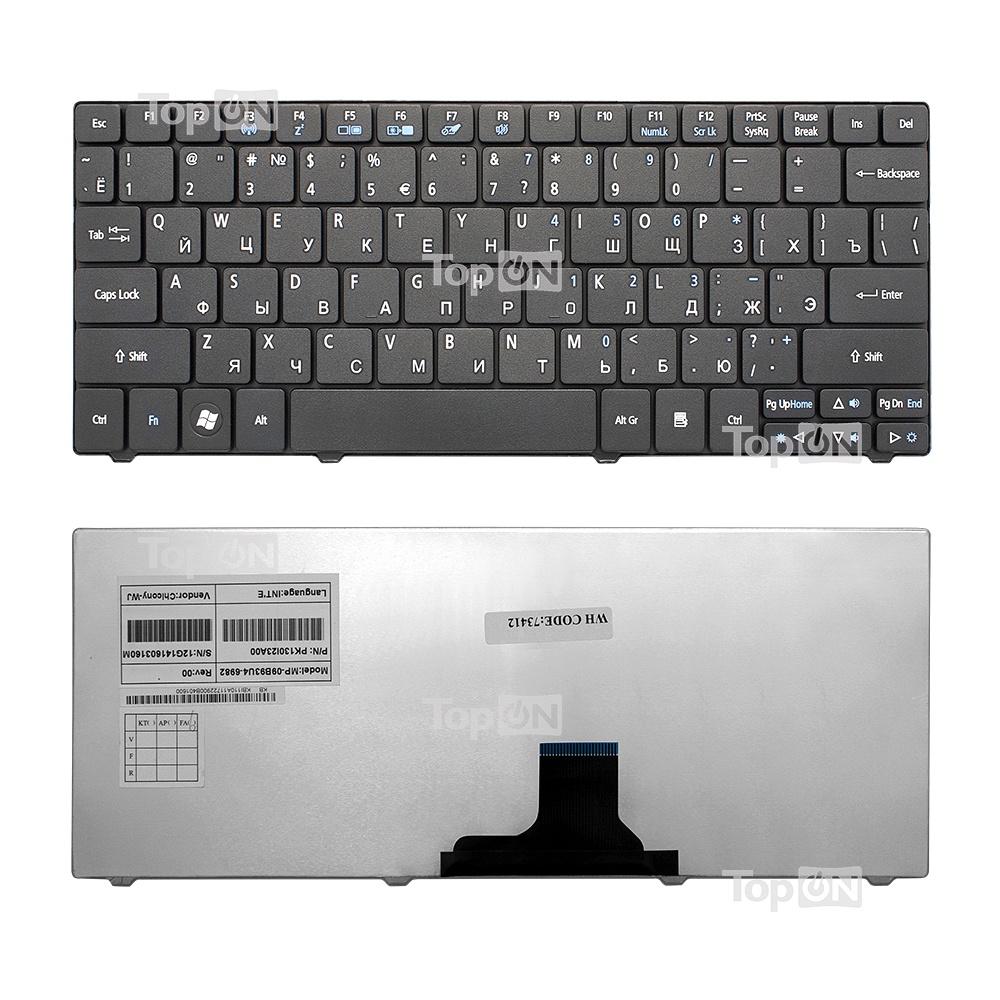 Клавиатура TopOn Acer Aspire 1410, 1425, 1810, 1830 Aspire One 721, 722, 751 Series. Плоский Enter. Без рамки. PN: NSK-AQ10R., TOP-73412, черный аккумулятор для ноутбука acer aspire one 521 531 531h 751 751h 752 series 6600мач 11 1v topon top 751h