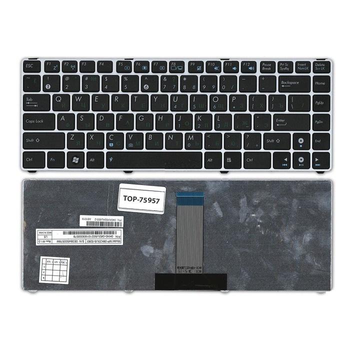 Клавиатура TopOn Asus UL20, Eee PC 1201, 1215, 1225 Series. Плоский Enter. С серебристой рамкой. PN: NSK-UJ90R, 0KN0-G61RU03., TOP-75957, черный