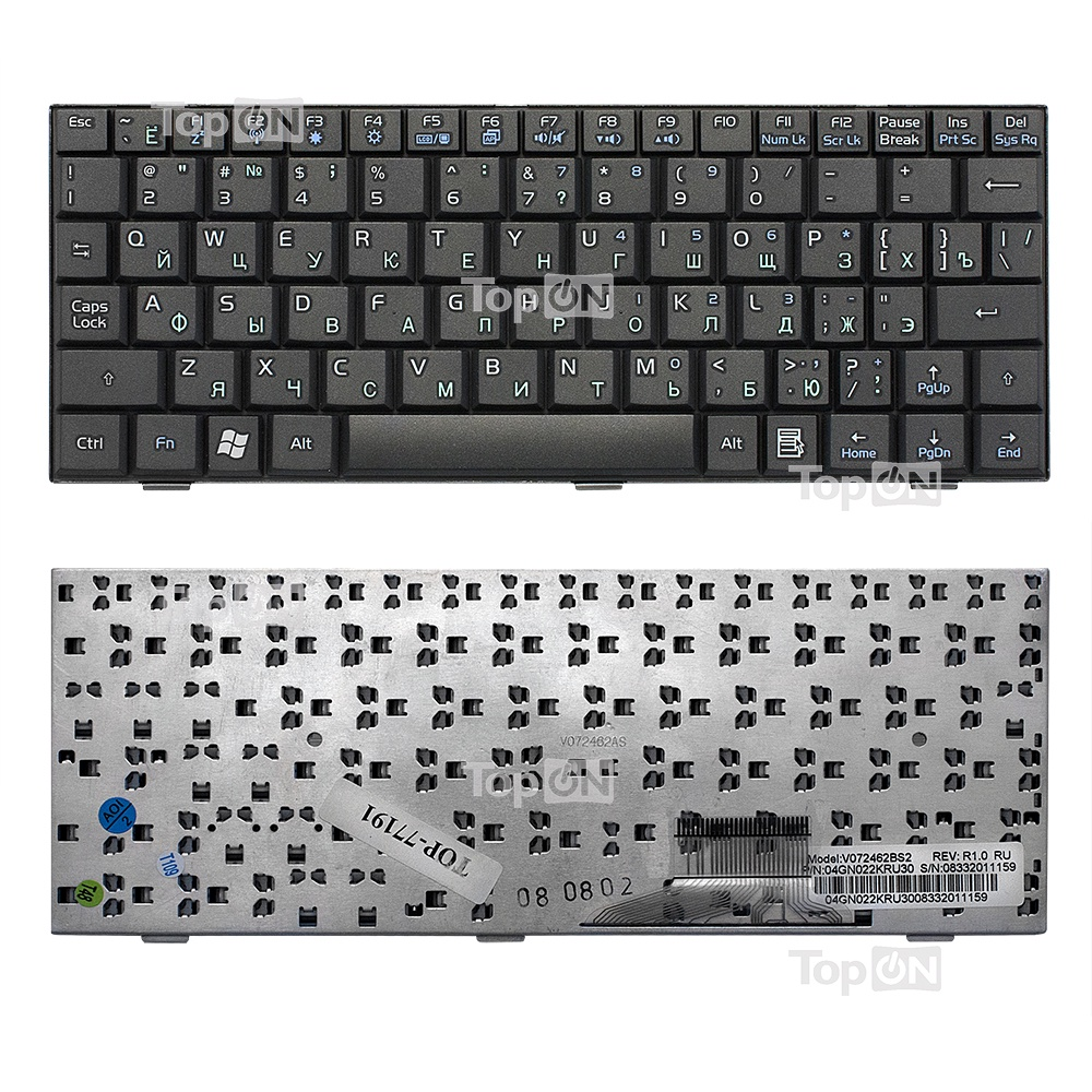 Клавиатура TopOn Asus Eee PC 700, 701, 900, 901 Series. Плоский Enter. Без рамки. PN: V072462BS2, 04GN021KRU00., TOP-77191, черный клавиатура topon asus eee pc 700 701 900 901 series плоский enter без рамки pn v072462bs2 04gn021kru00 top 77192 черный
