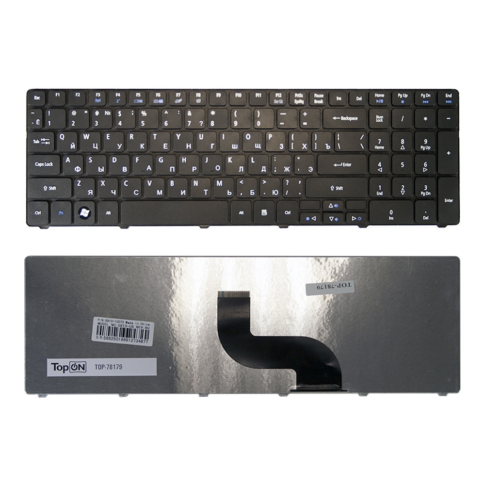 Клавиатура TopOn Acer Aspire 5810, 5810T, 5410T, 5820TG, 5536, 5738, 5739, 5551 Series. Плоский Enter. Без рамки. PN: NSK-AL10R., TOP-78179, черный