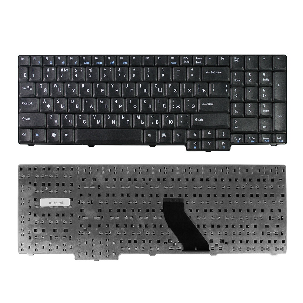 Клавиатура TopOn Acer Aspire 5335, 5535, 5735, 5737 TravelMate 5110, 7510 Series.  Плоский Enter.  Без рамки.  PN:  NSK-AFT0R, 9J. N8782. R0R, TOP-78180, черный TopON