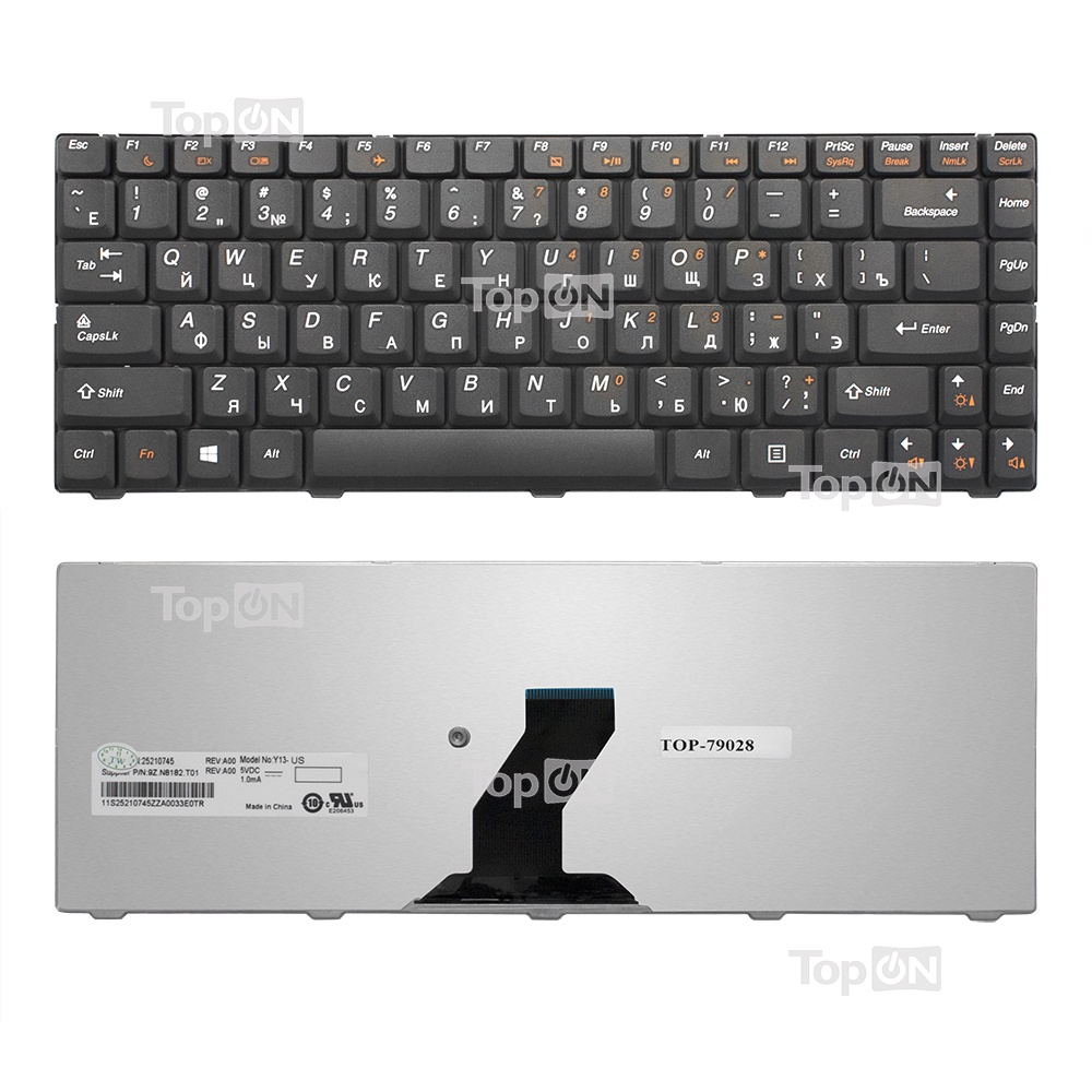 Клавиатура TopOn Lenovo IdeaPad B450, B450A, B450L Series. Плоский Enter. Без рамки. PN: 25009181, NSK-U1X0R., TOP-79028, черный клавиатура topon lenovo ideapad y520 15ikb y720 15 series плоский enter без рамки с подсветкой pn sn20m27411 kb 102372 черный
