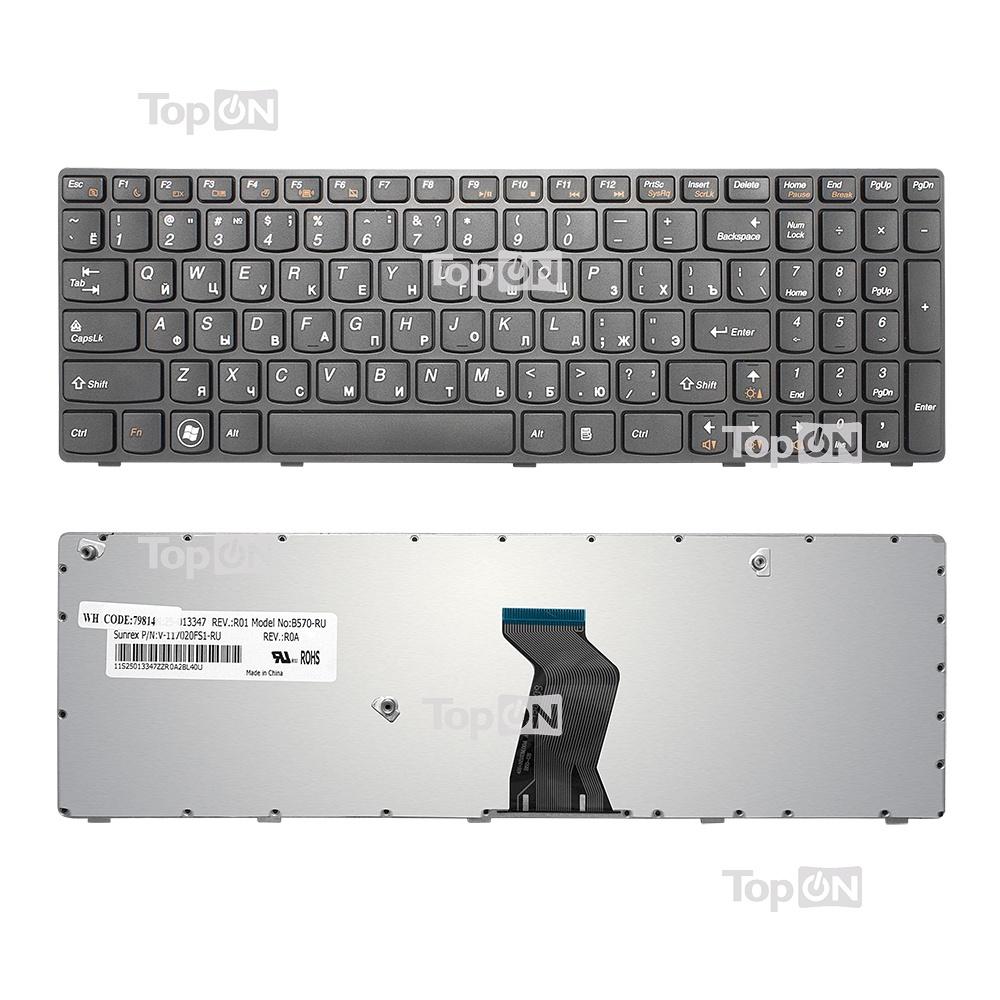 Клавиатура TopOn Lenovo B570, V570, Z570 Series. Плоский Enter. С черной рамкой. PN: 25-011910, 25-012349., TOP-79814, черный плеер ru mp