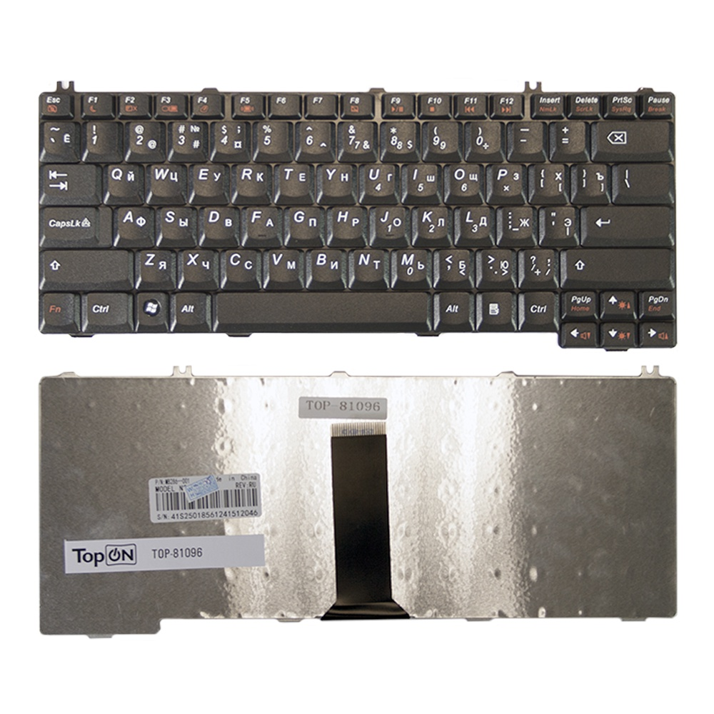 Клавиатура TopOn Lenovo ThinkPad F31, F41, F51, IdeaPad 3000 C100, 3000 N100 Series. Плоский Enter. Без рамки. PN: 42T3419, 05X004., TOP-81096, черный gzeele russian laptop keyboard for lenovo 3000 c100 c200 f31 f41 g420 g430 g450 g530 a4r n100 n200 y430 c460 c466 c510 ru layout