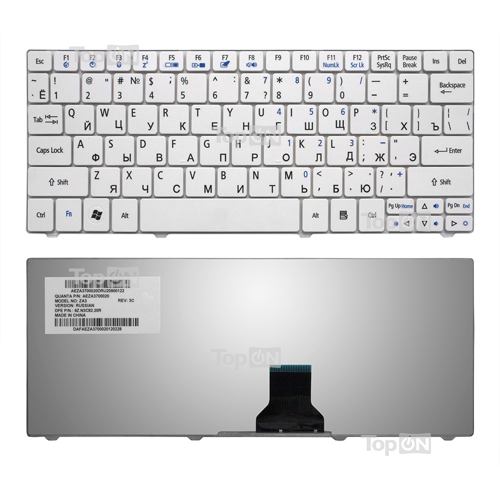 Клавиатура TopOn Acer Aspire 1410, 1425, 1810, 1830 Aspire One 721, 722, 751 Series. Плоский Enter. Без рамки. PN: NSK-AQ10R., TOP-81883, черный аккумулятор для ноутбука acer aspire one 521 531 531h 751 751h 752 series 4400мач 11 1v topon top 751