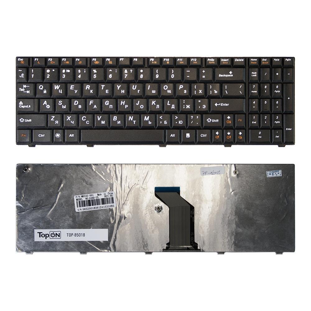 Клавиатура TopOn Lenovo G560, G560A, G560E, G565, G565A Series. Плоский Enter. Без рамки. PN: 25011416, 9Z.N5GSN.00R., TOP-85018, черный все цены