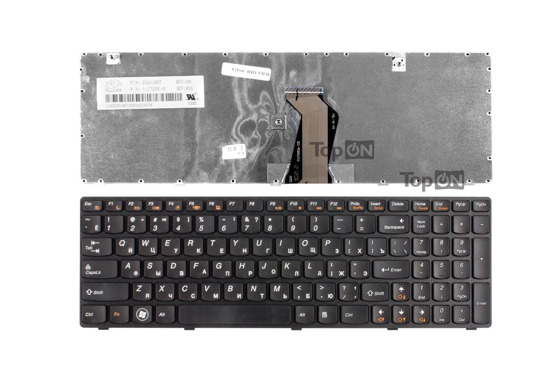 Клавиатура TopOn Lenovo Ideapad G580, G585, G780, V580, Z580, Z585, Z780 Series. Плоский Enter. С черной рамкой. PN: AELZ3700110., TOP-89424, черный