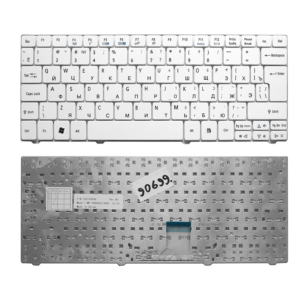 Клавиатура TopOn Acer Aspire 1410, 1425, 1810, 1830 Aspire One 721, 722, 751 Series. Г-образный Enter. Без рамки. PN: NSK-AQ10R., TOP-90699, черный аккумулятор для ноутбука acer aspire one 521 531 531h 751 751h 752 series 4400мач 11 1v topon top 751