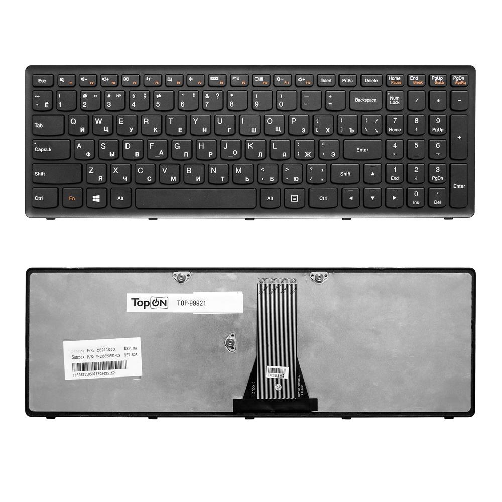 Клавиатура TopOn Lenovo IdeaPad Flex 15, G500S, G505, S500, S510, Z510 Series. Плоский Enter. С черной рамкой. PN: NSK-BMASU., TOP-99921, черный клавиатура lenovo z510