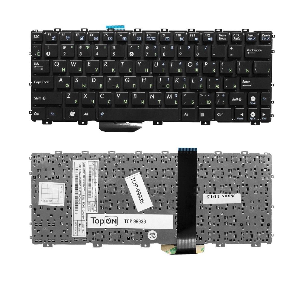 Клавиатура TopOn Asus Eee PC 1011, 1015, 1016P, 1018P, 1025C, X101 Series. Плоский Enter. Без рамки. PN: 0KNA-292RU02, MP-10B63SU-528., TOP-99936, черный