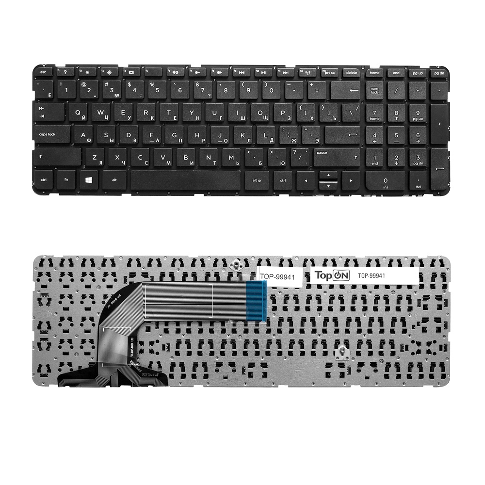 Клавиатура TopOn HP Pavilion Envy 17-e, 17-e000, 17-e100 Series. Плоский Enter. Без рамки. PN: 725365-001, AER68U00110., TOP-99941, черный gangxun 17