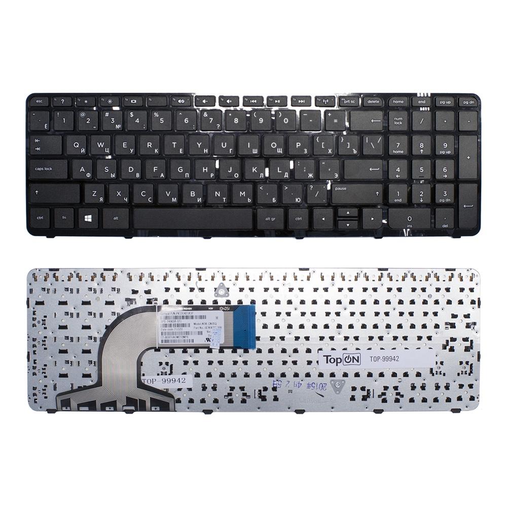 Клавиатура TopOn HP Pavilion 15-e, 15-g, 15-n, 15-r, 15t-e, 15t-n Series. Плоский Enter. С черной рамкой. PN: 9Z.N9HSC.601., TOP-99942, черный