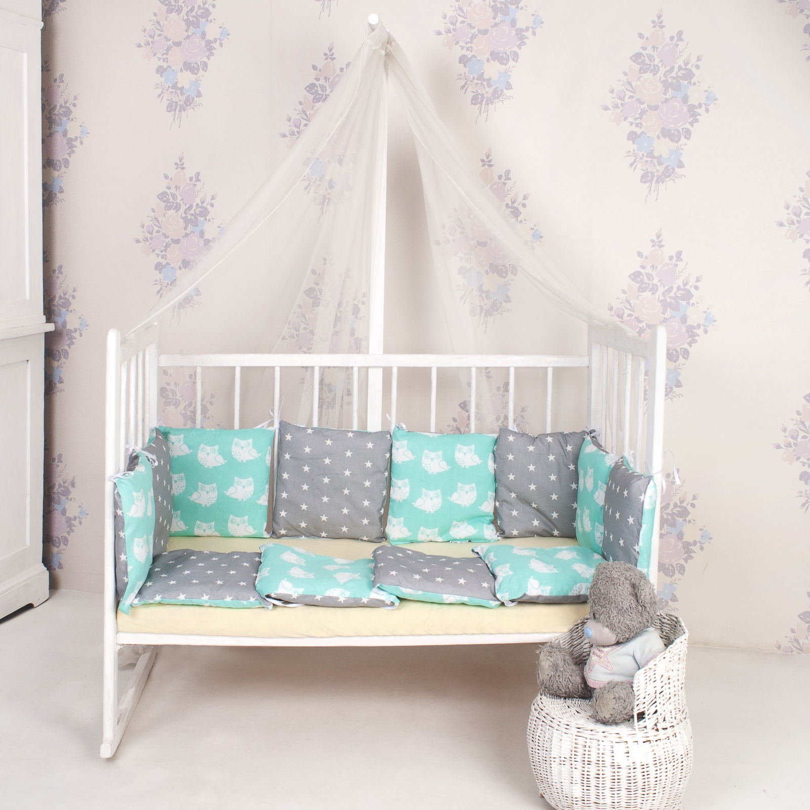 бортики в кроватку Комплект в кроватку ТК Традиция бортики в кроватку бязь, серый, светло-зеленый