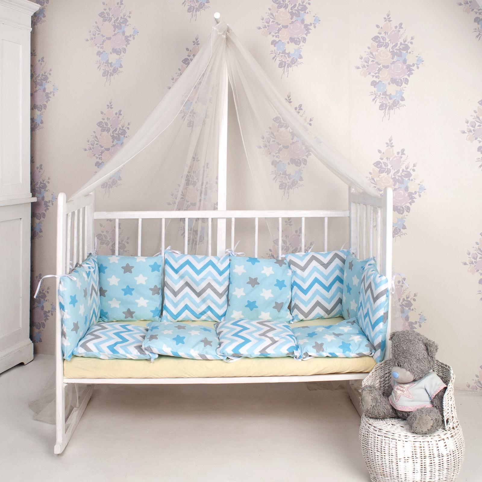 Комплект в кроватку ТК Традиция бортики в кроватку поплин, голубой, серый, белый