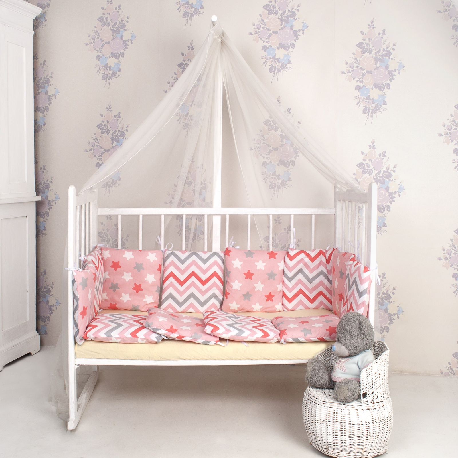 Комплект в кроватку ТК Традиция бортики в кроватку поплин, розовый, коралловый, белый, серый
