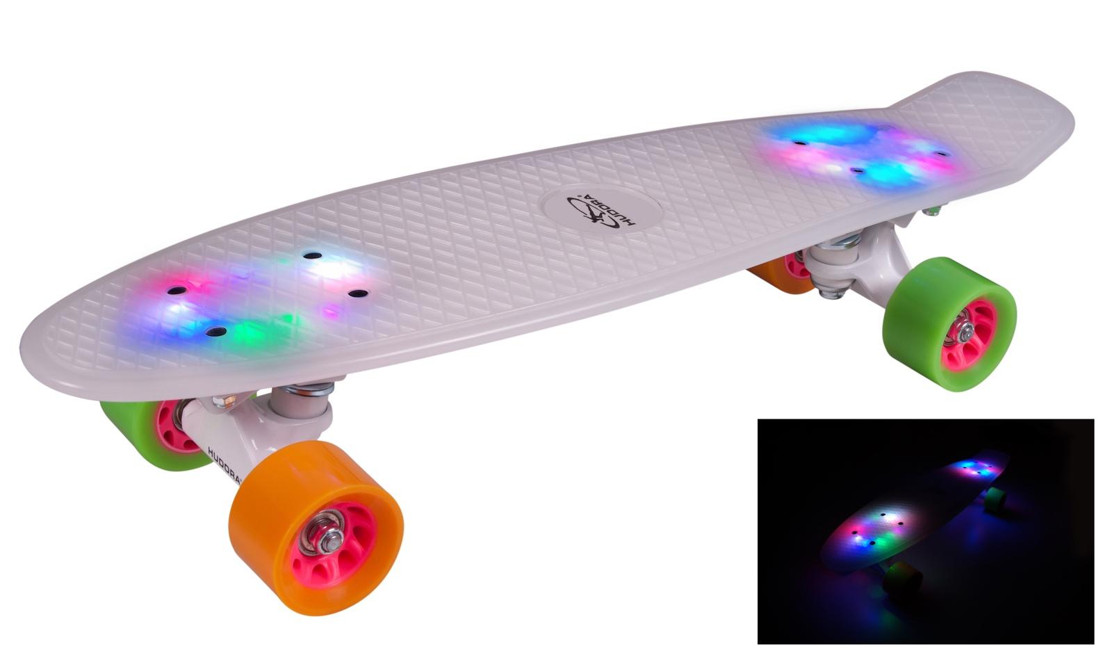 Скейтборд HUDORA Скейтборд Retro, белый с подсветкой, 12134