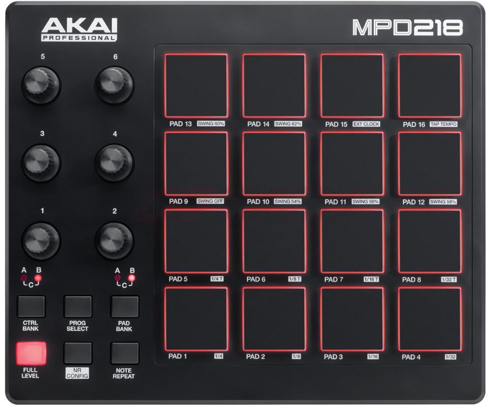 MIDI-контроллер Akai Pro MPD218, MPD218 midi контроллер novation launchpad mk2 компактный для ableton live 64 квадратных пэдов цвет черный