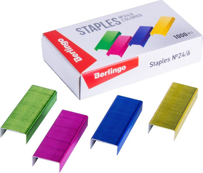 Скобы для степлера Berlingo №24/6, SH710, разноцветный, 1000 шт, 20 упаковок скобы для степлера laco 26 6 5000 шт