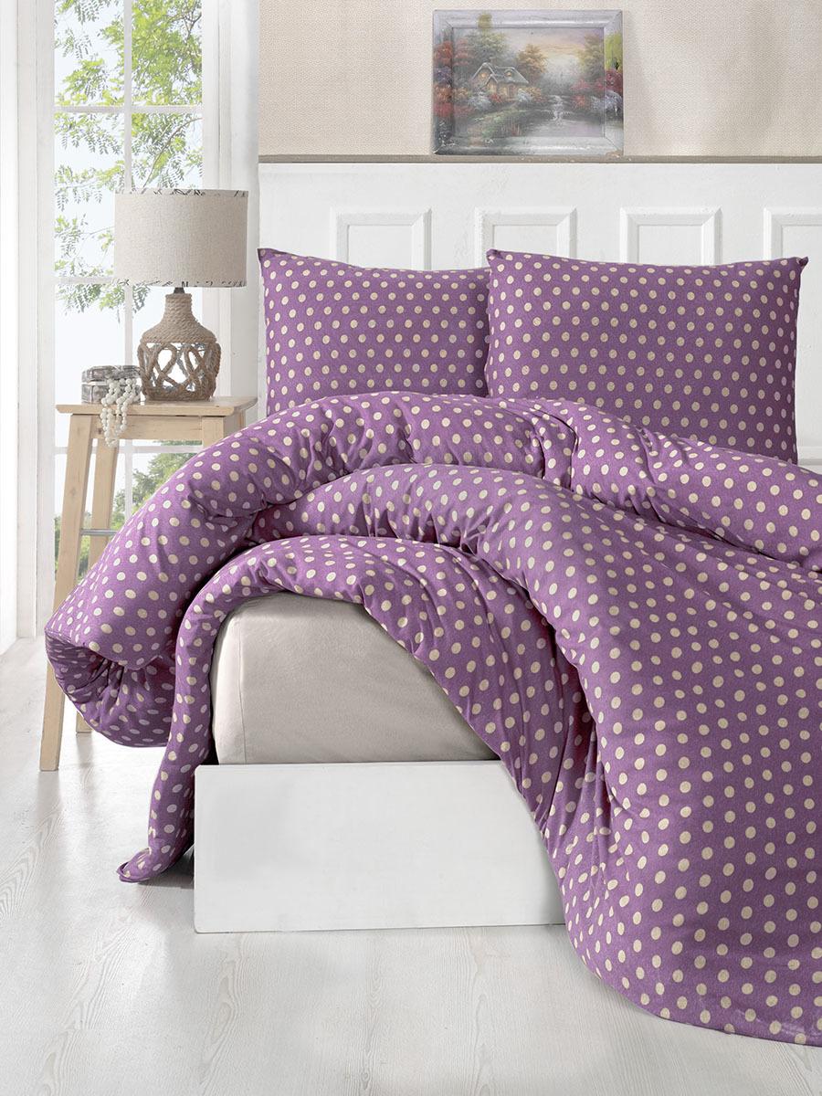 Комплект постельного белья Karna Yumse, 125/12/CHAR002, евро, фиолетовый