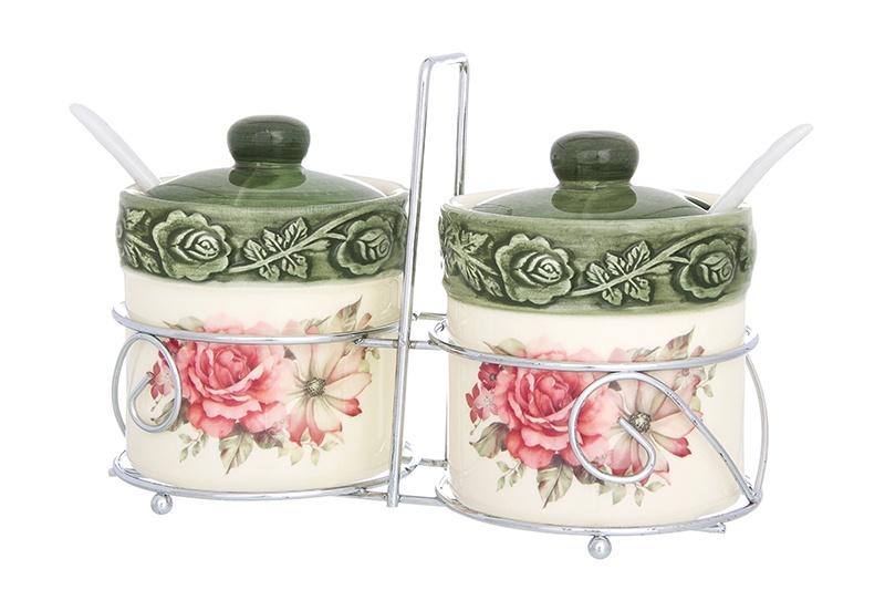 Фото - Набор для специй Elan Gallery Розы, 720255, белый, оливковый набор банок для хранения elan gallery гортензия с ложками и крышками на подставке 7 предметов