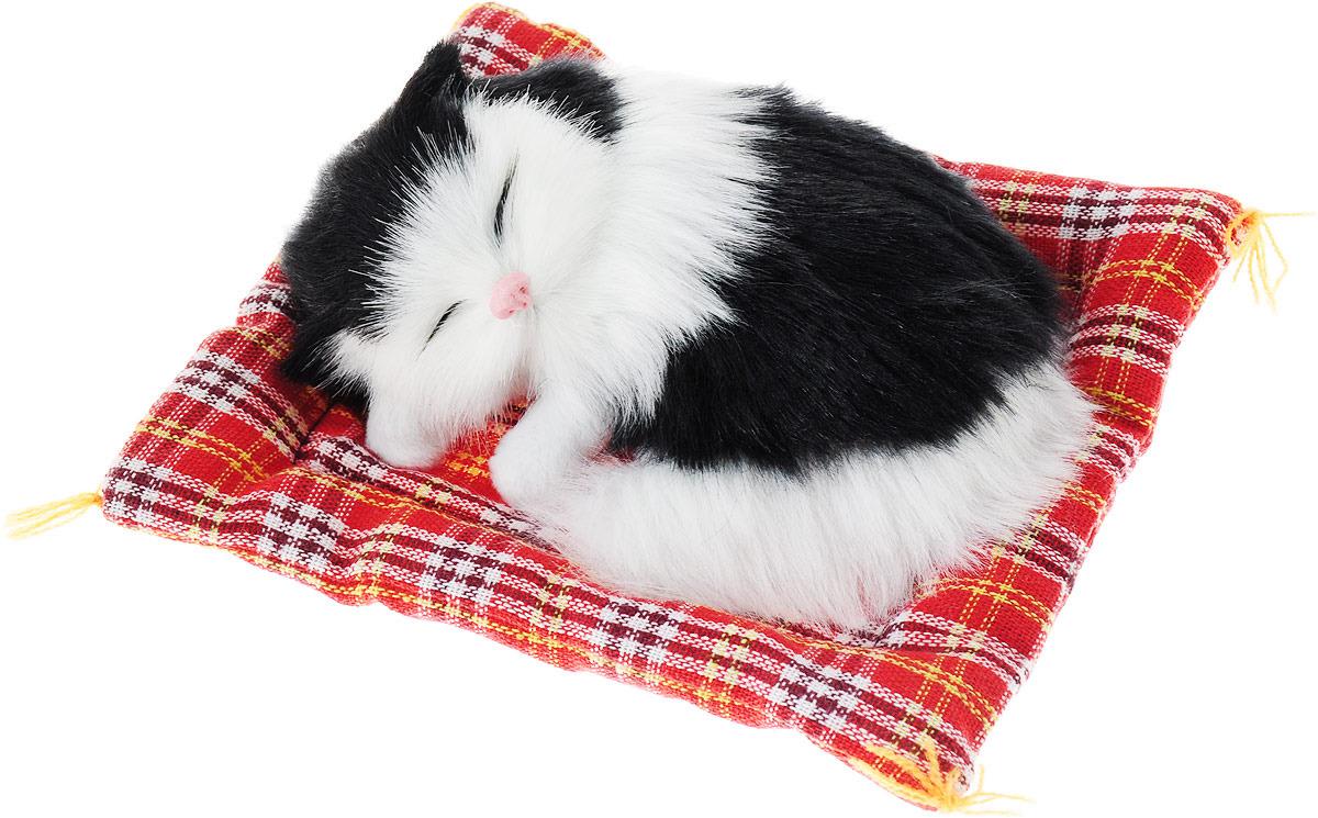 Фото - Vebtoy Фигурка Котенок на коврике цвет черно-белый vebtoy фигурка спящий котенок на коврике со звуком мяу цвет черно белый