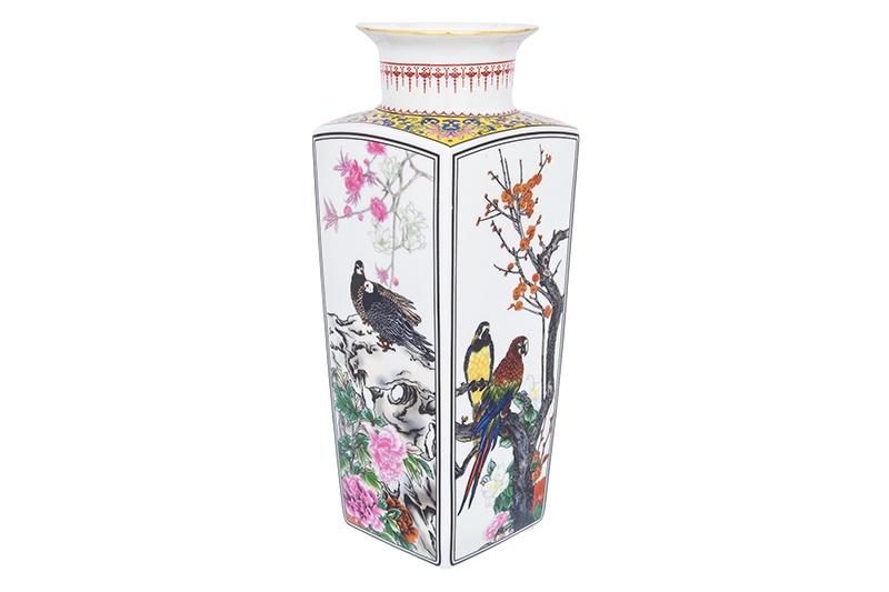 Ваза 12х12х30 см 2,6 л Elan Gallery Птицы в цветах ваза elan gallery птицы в цветах цвет белый высота 30 см 2 6 л page 3 page href
