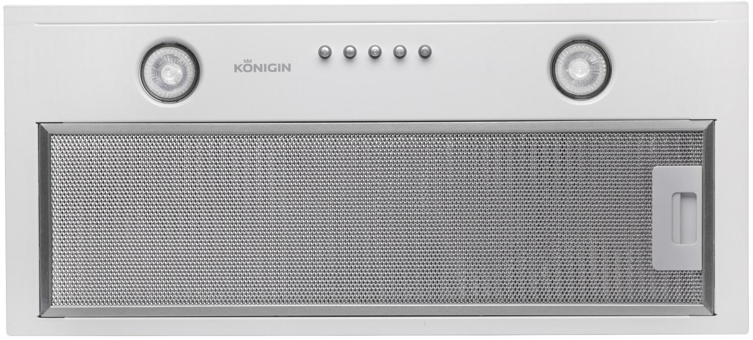 Вытяжка Konigin Flatbox (White 50), белый300 600 680Konigin Flatbox White 50 – полностью встраиваемая вытяжка.Практичный современный дизайнУдобное механическое управлениеКорпус вытяжки выполнен из высококачественной лакированной сталиПроизводительность 650 куб. метров, уровень шума 42-52 Дб, 3 скорости.Торговая марка Konigin специализируется на встраиваемой технике для кухни и электронных модулях холодильников и морозильников.Отличительные особенности кухонных вытяжек Konigin – высокая производительность и тихая работа.Вытяжки Konigin производятся в Польше. Моторы производства Италии, Германии, Польши.Нержавеющая сталь – Италия. Закаленное стекло – Польша. Алюминиевые фильтры – Германия.Гарантия - 2 года, сервисное обслуживание осуществляется в авторизованных центрах в городах РФ.Комплектация: антижировой фильтр, инструкция, гарантийный талон.Угольный фильтр для использования в режиме рециркуляции (дополнительная опция):Konigin KFCR 130 – для данной модели требуется 2 штуки.
