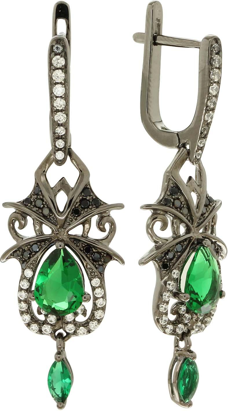 Серьги Акцент Бриллиант, серебро 925, фианит, ЦБ000003963СереброСерьги из серебра с покрытием черным родием. С белыми и зелеными фианитами.