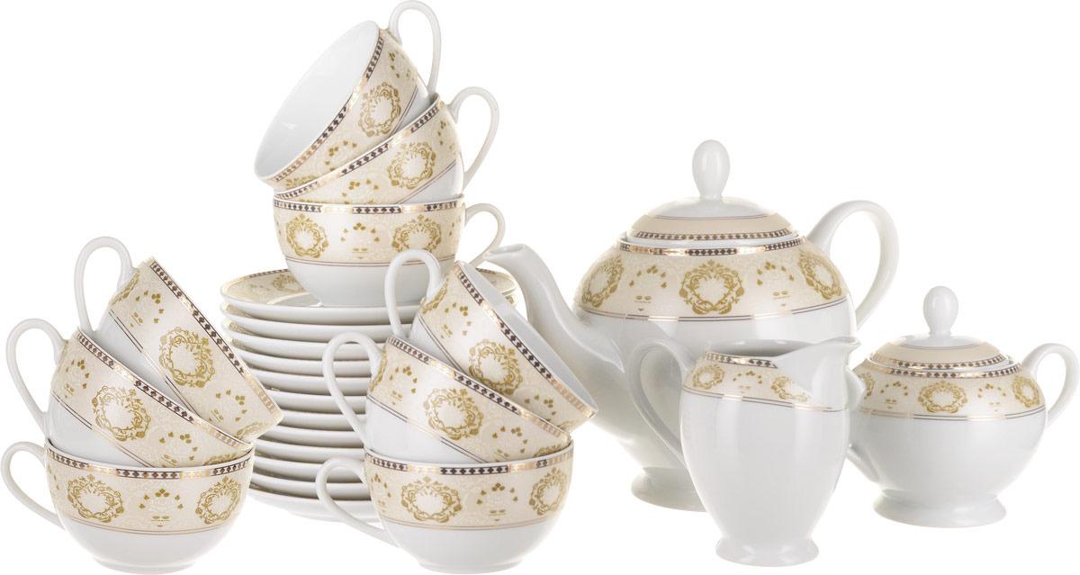 Сервиз чайный La Rose des Sables Riad Or, 6409515 1853, кремовый, золотой, 15 предметов сервиз чайный дулевский фарфор белый лебедь московский с лентой 15 предметов