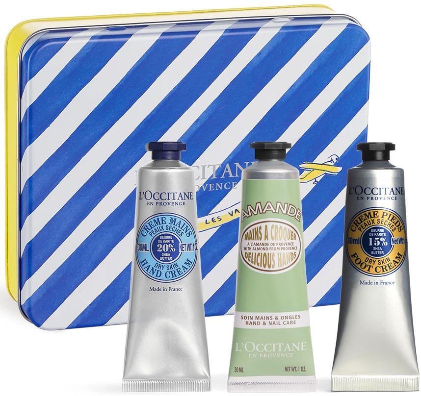 Набор для гигиены L'Occitane En Provence Крем для ног + Крем для рук Карите + Крем для рук Восхитительные ручки Миндаль