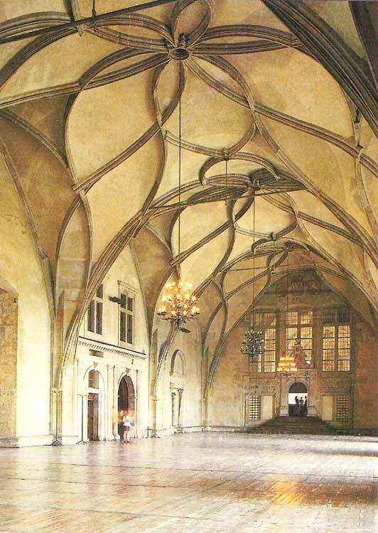 Почтовая открытка Prague. The Vladislav Hall of the Old Royal Palace. Чехия, конец ХХ века