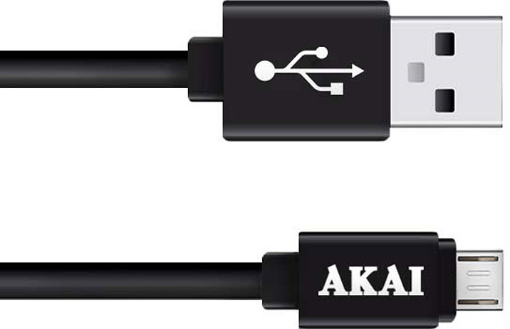 Дата-кабель Akai, CE-410B, USB-micro USB, 1А, оплетка TPE, черный, 1 м кабель akai usb – apple lighting gray