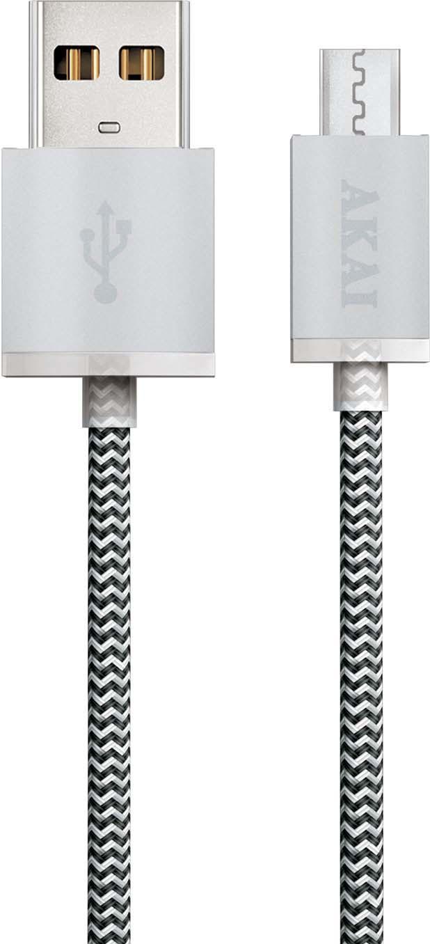 Дата-кабель Akai, CE-421W, USB-micro USB, 1А, оплетка нейлон, белый, черный, 1 м кабель ginzzu gc 550b дата кабель lightning usb нейлон 1 2 м черный